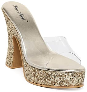 Bruno Manetti Women Glitter Golden Plastic Block Heel