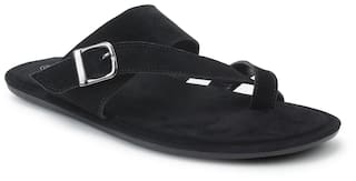Scentra Men Black Outdoor Slippers - Buckle Suede Black