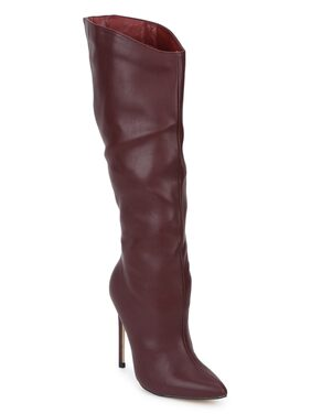 Truffle Collection Burgundy PU Stiletto Calf Length Long Boots