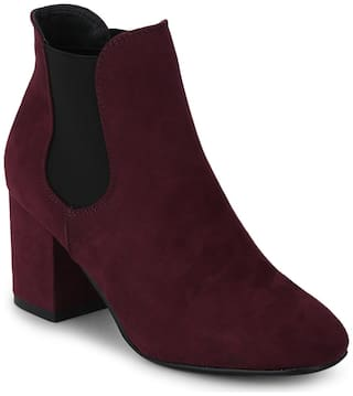 Burgyndy Micro Block Heel Ankle Length Boots