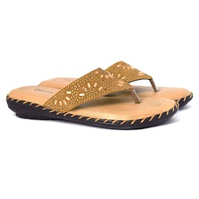 Butchi Women Tan Open Toe Flats