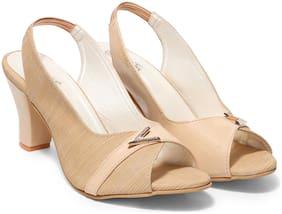 Butterflies Women Beige Heeled Sandals