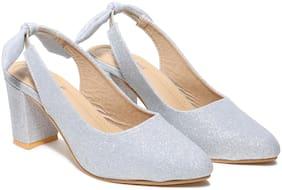 Butterflies Women Silver Heeled Sandals