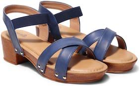 Butterflies Women Blue Heeled Sandals