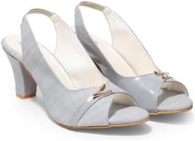 Butterflies Women Grey Heeled Sandals