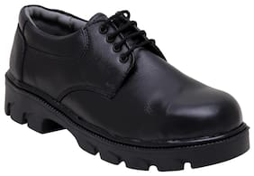 Calaso Men's Black Leather Safety Shoes-1_7