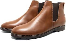 Castoes Men Tan Chelsea Boots