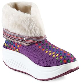 Casual Color Block Knitting Warm Ladies Platform Snow Boots