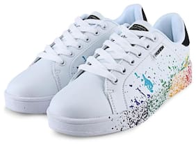 Casual Paint Splashing Decoration Ladies Lace Up Sneaker # International Bazaar