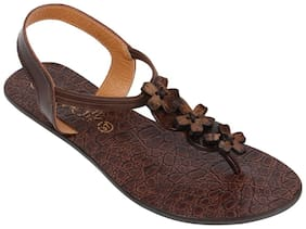 Catwalk Women Brown T-Strap Flats