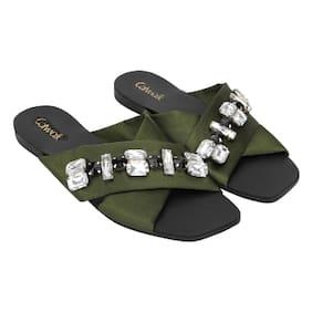 Catwalk Green Slippers & Flip flops