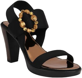 Catwalk Women Black Heeled Sandals -