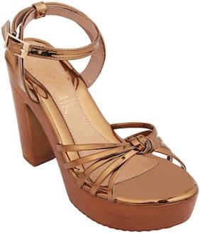 Catwalk Women Bronze Heeled Sandals