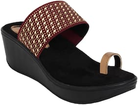 Catwalk Women Maroon Heeled Sandals