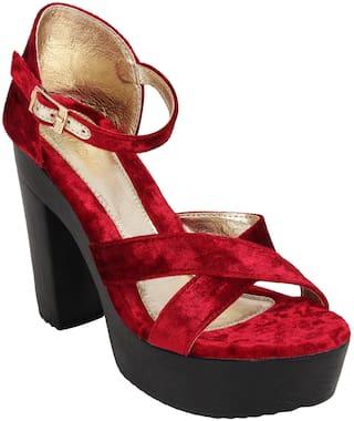 Catwalk Women Maroon Heeled Sandals