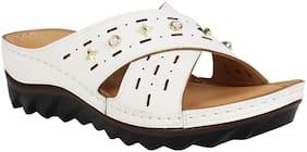 Catwalk Women White Heeled Sandals