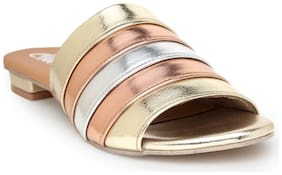 Chalk Studio Women Golden Slippers -