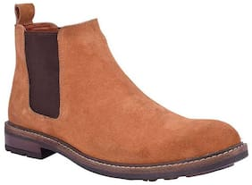SIM STYLE Men Tan Ankle Boots - CHELSEA