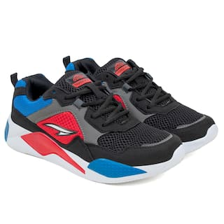 Asian Chunky Sneakers For Men ( Black , Red )