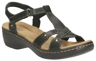 19d598fa83e Buy Clarks Hayla Flute Black Leather Women Sandals   Floaters Online ...