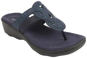 Clarks Synthetic Solid Navy Blue Casual  Slippers For Women