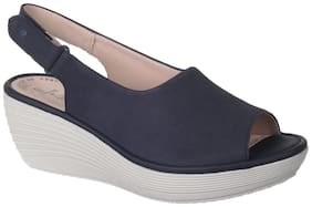Clarks Women Blue Wedges