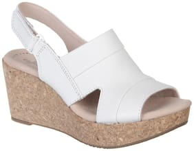 Clarks Women White Wedges