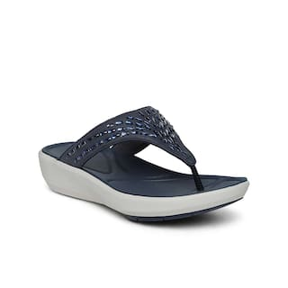 9750494f2 Buy Clarks Women Navy Blue Leather Flip Flops Online at Low Prices ...