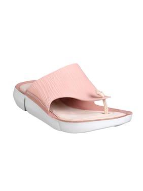 57e68cb2fda3cb Clarks Women Peach Leather Flip Flops