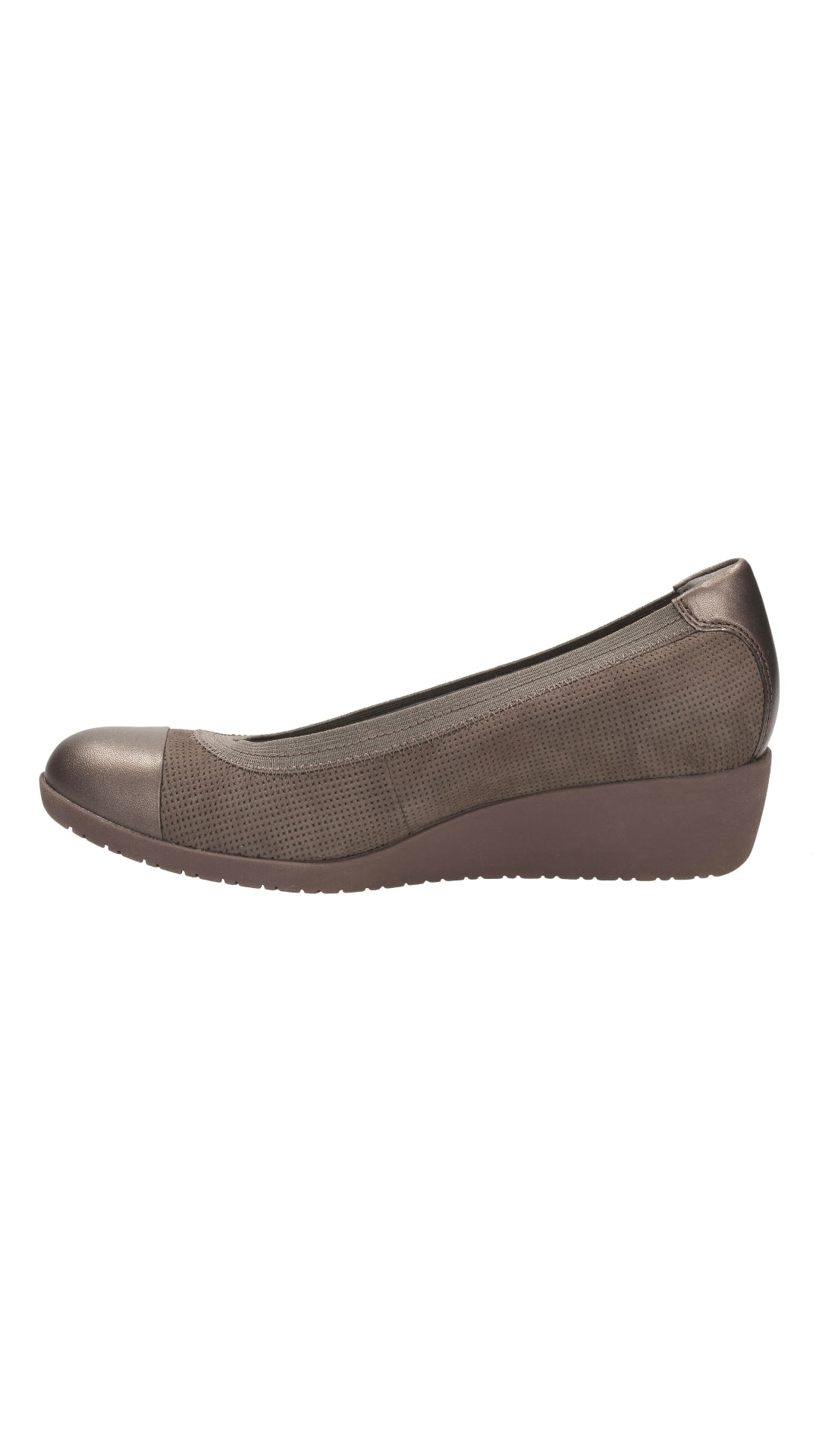7361a2c38340 Buy Clarks Women Petula Sadie Taupe Nubuck Wedges Online at Low Prices in  India - Paytmmall.com