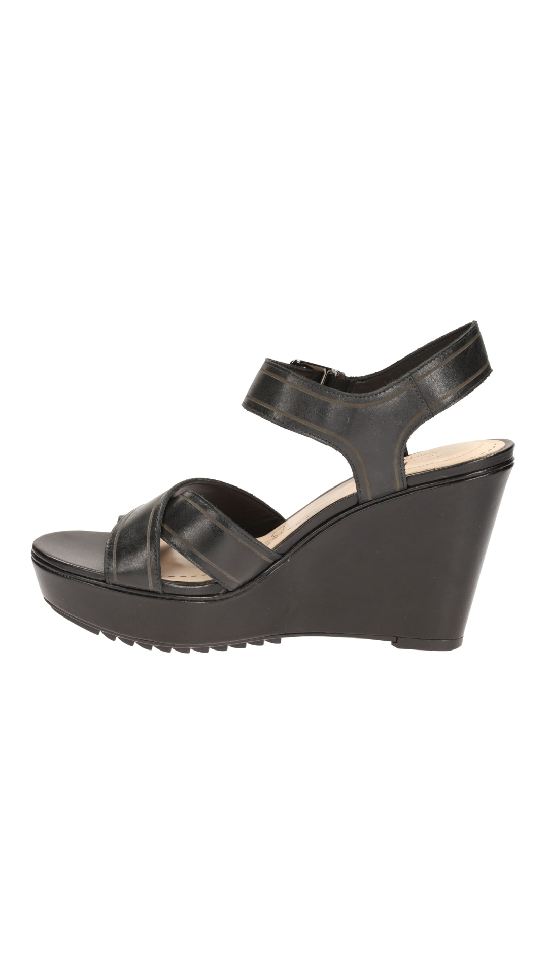 d2652aeea5f1 Buy Clarks Women Scent Sky Black Leather Wedges Online at Low Prices in  India - Paytmmall.com