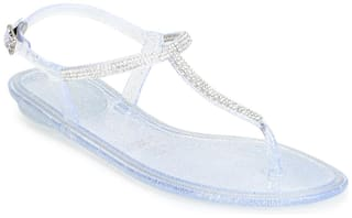 Truffle Collection Clear PVC Ankle Strap Flat Sandals