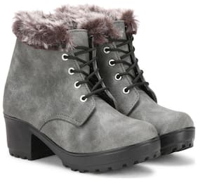 Commander Women Grey Ankle length Boots