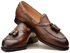 Men Slip-On Formal Shoes ( Brown )