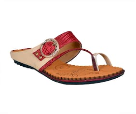 Crazy Bunny Women Red T-Strap Flats