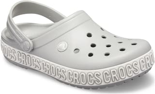 Crocs Men Grey White Crocband Logo Mania Clogs 205914-00J