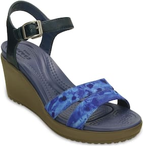 Crocs Women LeighII AnkleStrap Graphic Wedges