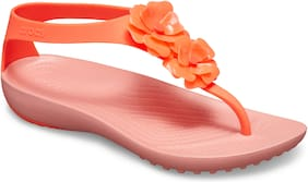 Crocs Women Orange Serena Embellish Flip Flops 205600-6PT
