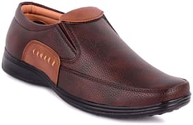 D.S.P. Men Brown Synthetic Leather Formal Shoes