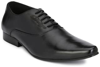Delize Black Office Genuine Leather Formal Shoes