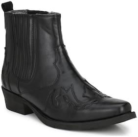 Delize Black Cowboy Boots For Men's