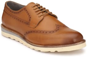 Delize Brogue Genuine Leather Tan Formal Shoes