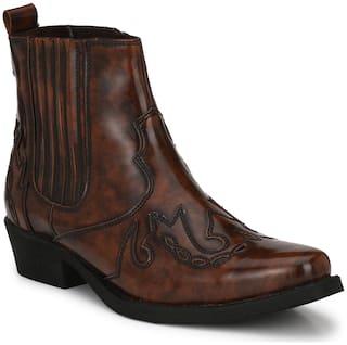 Delize Brown Cowboy Boots for Men's