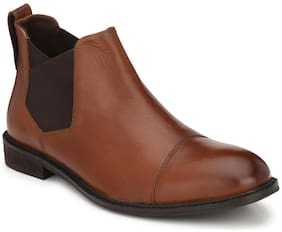 Delize Brown Genuine Leather Ankle Casual Shoes For Mens