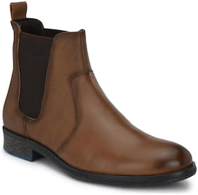 Delize Brown Chelsea Mid Ankle Boots