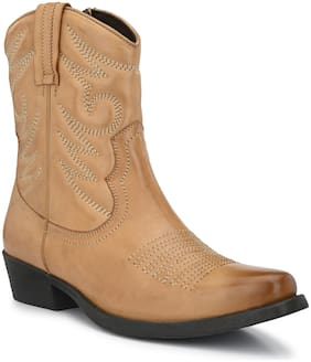 Delize Tan Cow Boy Ankle Boots For Men's