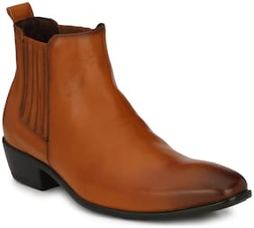 Delize Tan Leather Ankle Boots For Men's