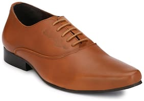 Delize Tan Office Genuine Leather Formal Shoes