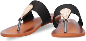 DIGNI BLACK FLATS SANDAL FOR GIRLS AND LADIES DWF-1001