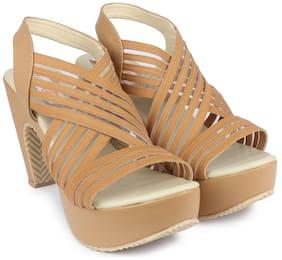 DIGNI Brown Mesh Women Heels